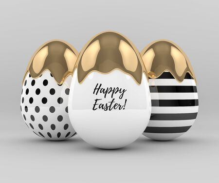golden egg: 3d rendering of Easter elegant eggs with gold paint on gray background Stock Photo