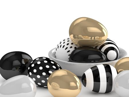 golden egg: 3d rendering of Easter elegant eggs lying on white table Stock Photo