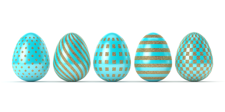 3d rendering of Easter glitter and turquoise eggs in row isolated on white  background