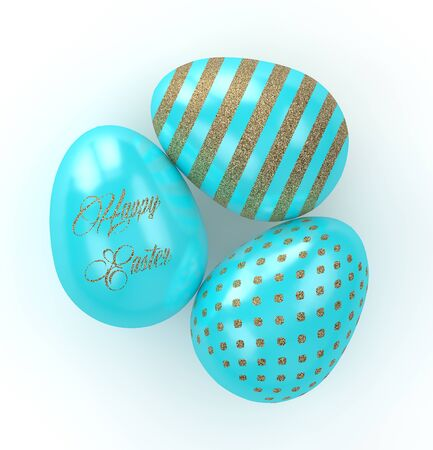 golden egg: 3d rendering of Easter glitter and turquoise eggs  isolated on white  background