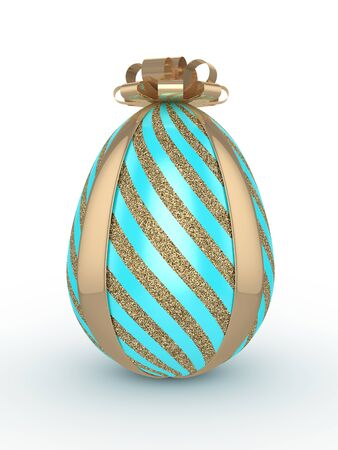 3d rendering of Easter glitter and turquoise egg with bow  isolated on white  background Stock Photo
