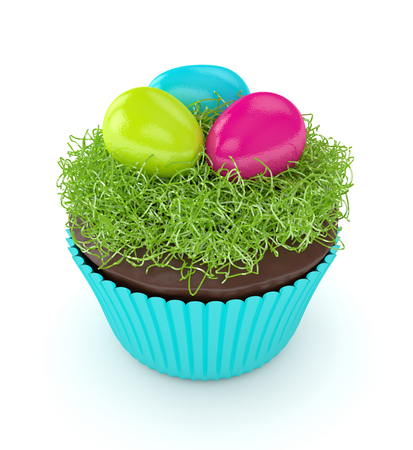 3d render of Easter muffin with grass and eggs isolated over white backgorund