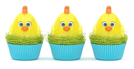 3d render of Easter chicks in nests isolated on white background Stock Photo