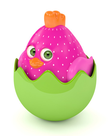 3d render of Easter funny chick in eggshell  isolated on white background Stock Photo