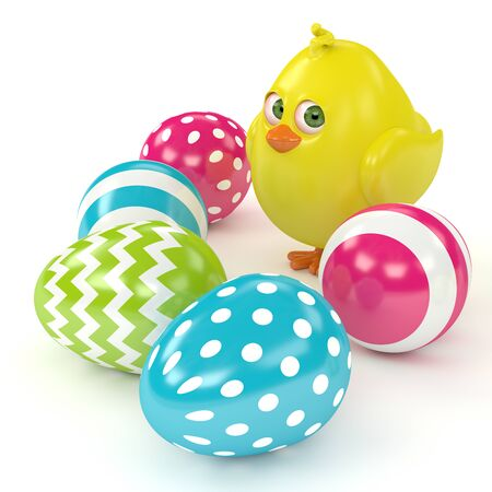 3d render of Easter chick with painted eggs isolated on white background Stock Photo