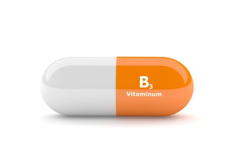 nicotinic: 3d rendering of vitamin B3 pill isolated over white background