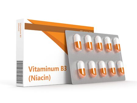 nicotinic: 3d rendering of vitamin B3 pills ob blister isolated over white background Stock Photo