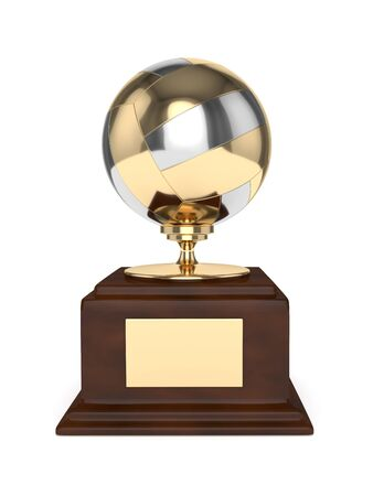 3d render of volleyball trophy isolated on white background