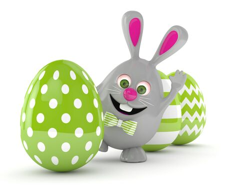 3d rendering of Easter bunny in row with Easter eggs isolated over white background Stock Photo