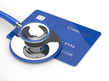 international bank account number: 3d render of credit card with stethoscope isolated over white background