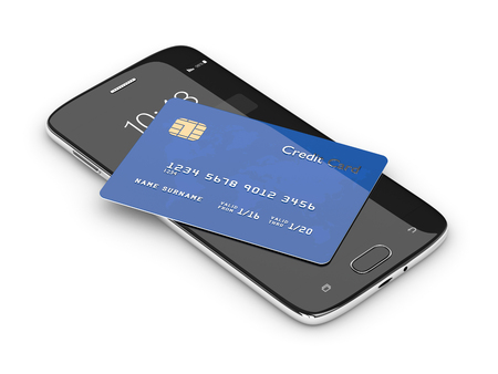 3d render of credit card lying on mobile phone isolated over white background Stock Photo