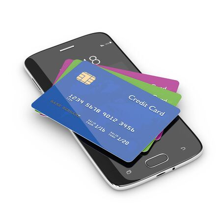 personal identification number: 3d render of credit cards lying on mobile phone isolated over white background Stock Photo