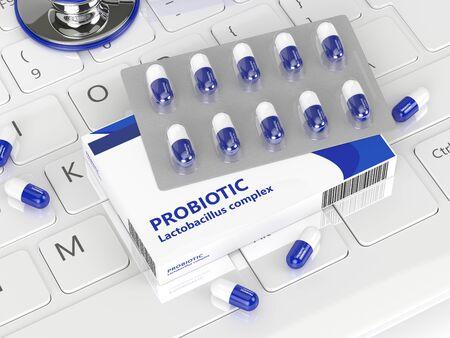 聴診器コンピューター keyobard の上に横たわるとプロバイオティクス錠剤の 3 d レンダリング