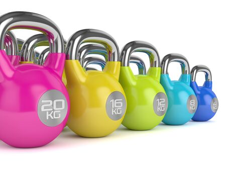 cast iron: 3d render of  kettlebells in row isolated on white background Stock Photo