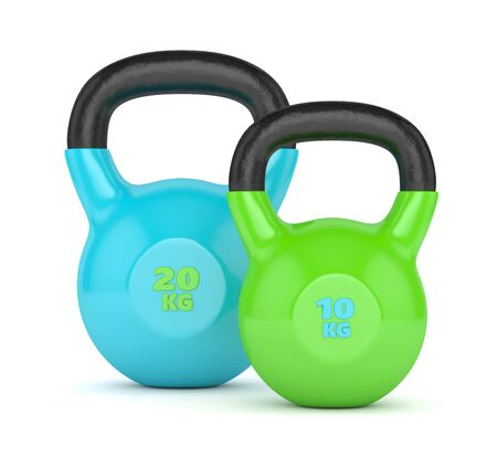 cast iron: 3d render of two kettlebells isolated on white background Stock Photo