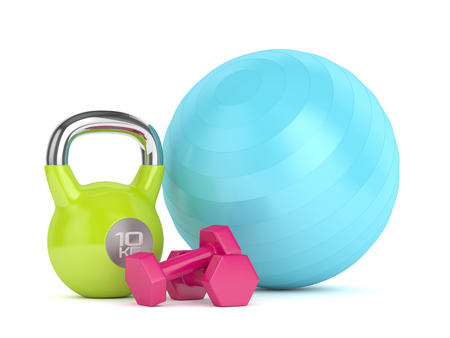 gym equipment: 3d render of kettlebell, fitness ball and dumbbells isolated on white background Stock Photo