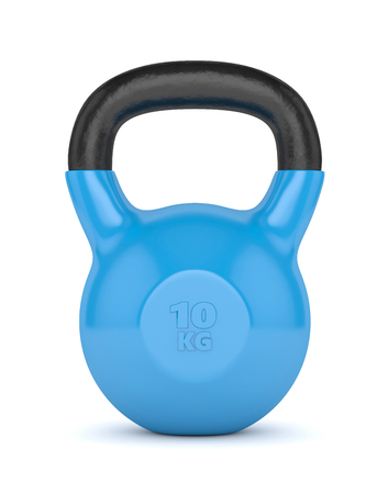 cast iron: 3d render of kettlebell isolated on white background Stock Photo