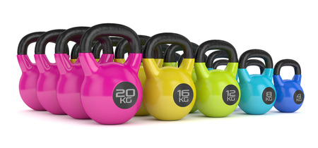 3d render of  kettlebells in row isolated on white background Stock Photo