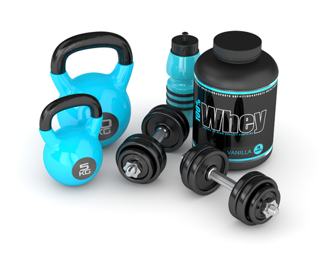 cast iron: 3d render of whey proteins with dumbbells, kettlebells and bottle isolated on white background Stock Photo