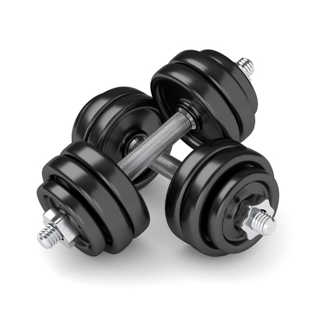 3d render of dumbbells isolated over white background