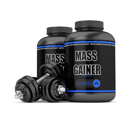 3d render of mass gainer bottles with dumbbells isolated over white background