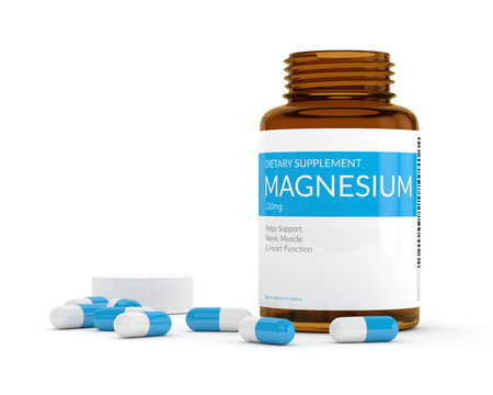 3d render of magnesium pills in bottle isolated over white background