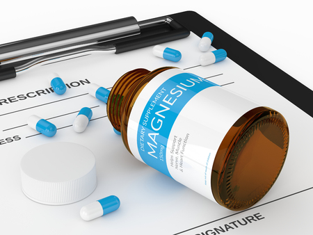 3d render of magnesium pills in bottle with prescription  isolated over white background