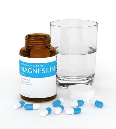 3d render of magnesium pills in bottle with glass of water isolated over white background