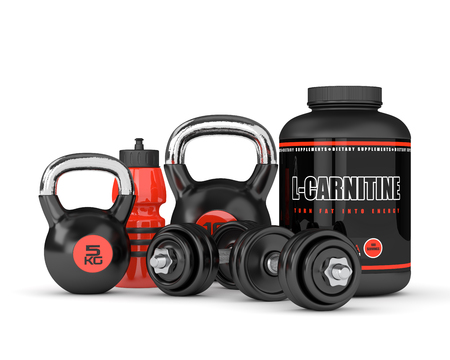 dietary: 3D render of l-carnitine powder with dumbbells and kettlebells isolated over white background