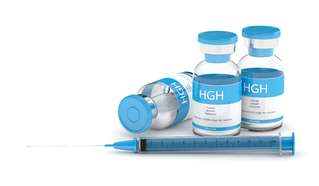 3d render of HGH vials with syringe isolated over white background