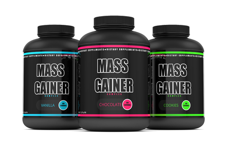 3d render of mass gainer bottles isolated over white background