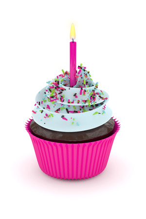 sprinkle: 3d render of sweet cupcake with sprinkles and candle isolated on white background