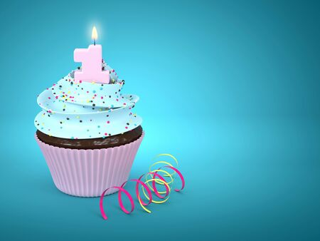 confection: 3d sweet cupcake with number 1 candle over blue background
