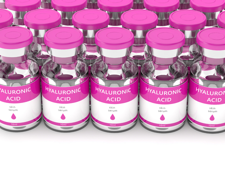 3d render of hyaluronic acid vials isolated over white background