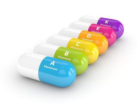 3D-weergave van vitamine pillen in rij op witte achtergrond