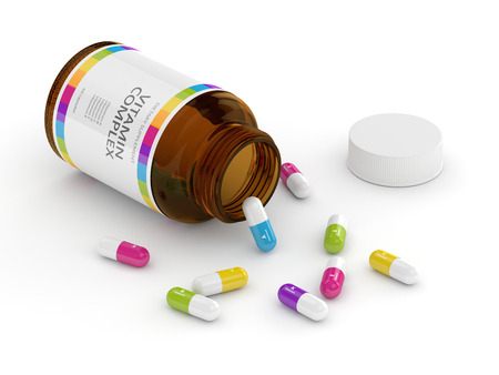 ascorbic: 3d rendering of vitamin pills with bottle. Concept of dietary supplements