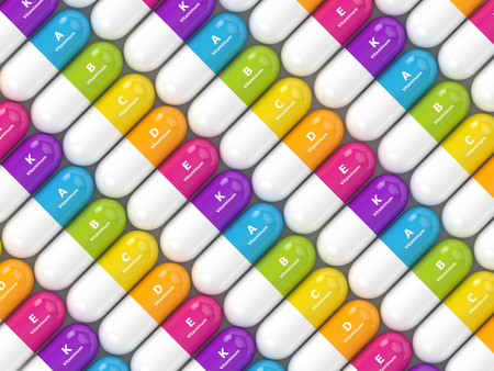3d rendering of vitamin pills in row. Concept of dietary supplements