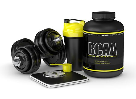 3d render of BCAA powder with dumbbells, scale and shaker isolated over white background