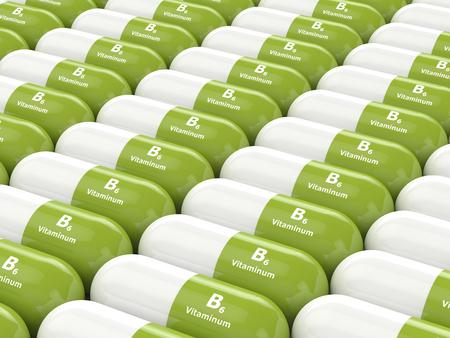 3d rendering of vitamin B6  pills in row Stock Photo
