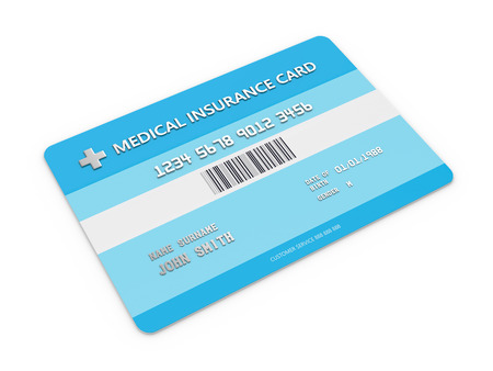 3d render of health insurance card over white. All personal data is fictitious.