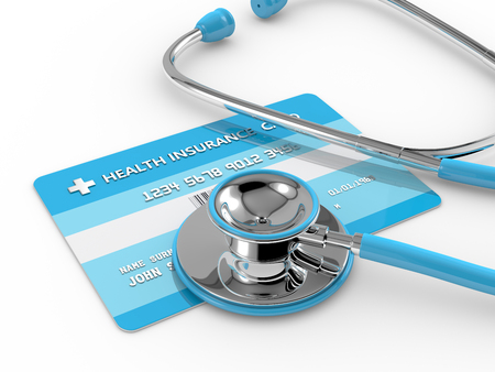 3d render of health insurance card with stethoscope. All personal data is fictitious.