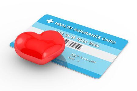 3d de carte d'assurance santé avec coeur. Toutes les données personnelles sont fictives. Banque d'images