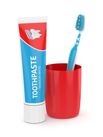 3d render of toothbrush with toothpaste and plastic cup isolated on white background Stock Photo