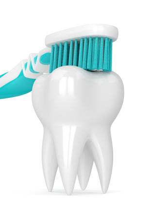 3d render of toothbrush cleaning tooth isolated over white background