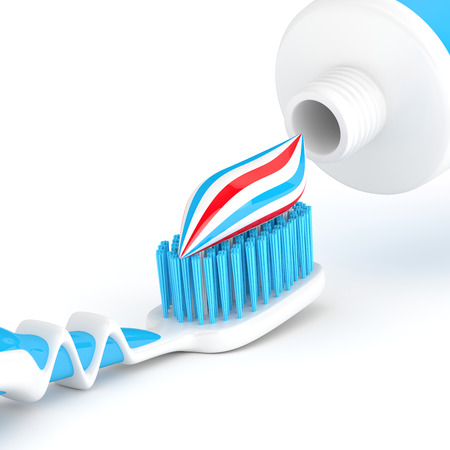 bristles: 3d render of toothbrush with toothpaste isolated over white background