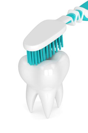 白い背景に分離された歯をクリーニング歯ブラシの 3 d レンダリング 写真素材