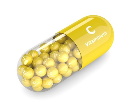 3d render of vitamin C pill with granules over white background. Concept of dietary supplements Stock Photo