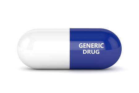 3D render of generic pill over white background Banco de Imagens