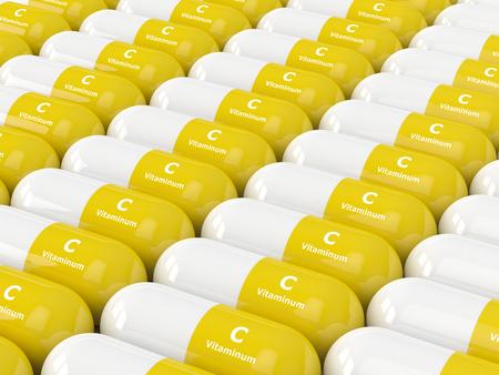 sobredosis: Procesamiento 3D de píldoras de vitamina C en fila. Concepto de suplementos dietéticos