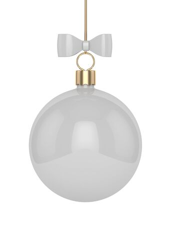 3d rendering of gray christmas bauble  on white  background